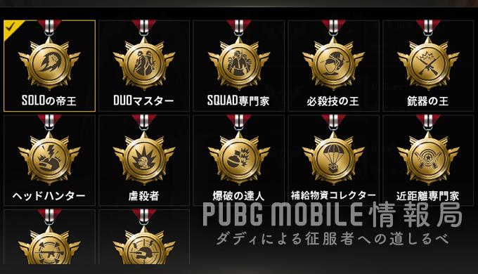 PUBGモバイルの称号一覧と獲得方法-戦績上位で獲得できる称号